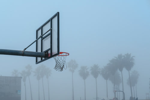 Basketball Hoop In Foggy Venice Beach California