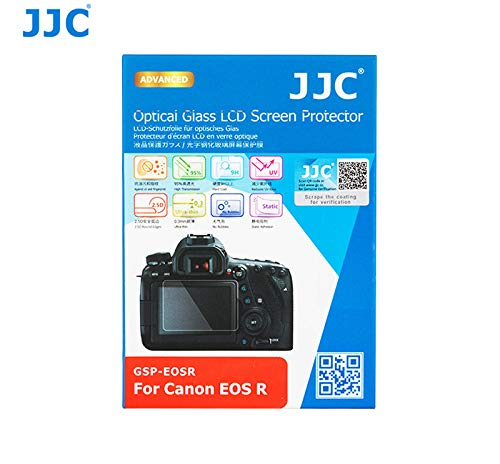 "JJC 0.01"" Ultra-Thin Optical Glass LCD Screen Protector for Canon EOS R Mirrorless Camera, Canon EOS R LCD Protector, LCD Protector for EOS R, 2.5D Round Edge, 9H Water Oil & Fingerprints Resistant"