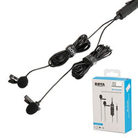 BOYA BY-M1DM Lavalier Clip-On Microphone Omnidirectional Lapel Mic for Smartphone DSLR Camera Video Recorder Dual