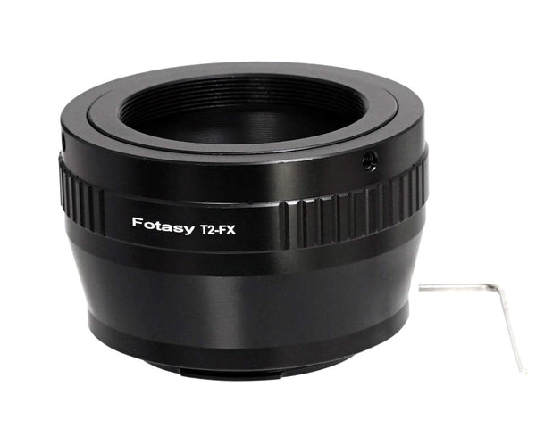 Fotasy Adjustable T2/ T Mount lens to Fuji X Adapter, T Mount to Fujifilm X Mount Adapter, Compatible with Fujifilm X-Mount Cameras X-Pro2 X-E2 X-E3 X-A5 X-M1 X-T1 X-T2 XT3 X-T10 X-T20 X-T30 X-H1