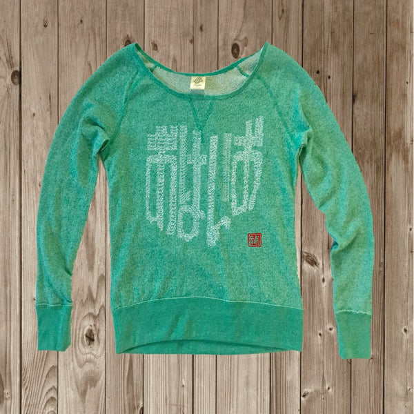 Ohio Women's Wide Neck Sweaterfleece Crew - Teal-