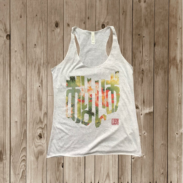 OHIO in Japanese - BIG LOTUS FLOWER - おはいお WOMENS WOMEN'S TRIBLEND RACERBACK TANK