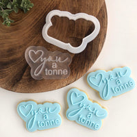 Love you a tonne Power Pop! stamp with bubble cutter