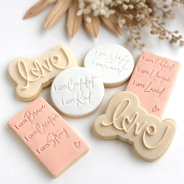 LUNCHBOX AFFIRMATION ACRYLIC IMPRESSION  STAMPS  (PLEASE SELECT FROM DROP DOWN LIST)