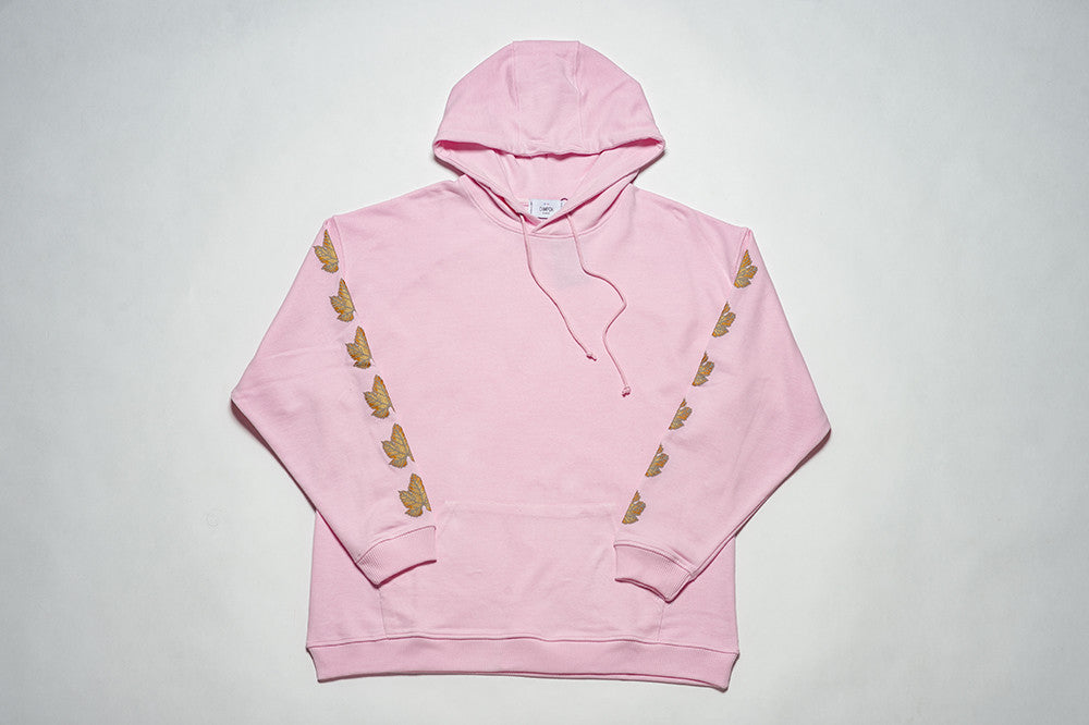 HOODIE OVERSIZED - GOLD FIG LEAF - LIGHT PINK