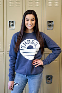 Three Crewneck Sweatshirt - Heather Navy