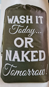 "Wäschesack mit Kordelzug. ""Wash it today ...or naked tomorrow !"" - British Moments"
