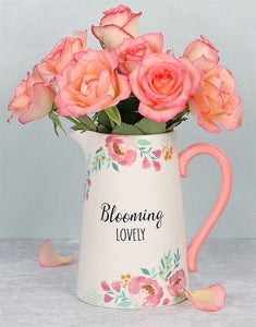 "Keramik Kanne/ Blumenvase mit schönem Blumendesign und Text ""Blooming Lovely"" - British Moments"