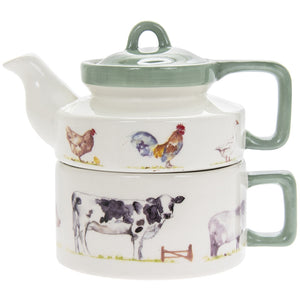 "Tea for One Set ""Country Life Farm "" große Teetasse mit Kännchen - British Moments"