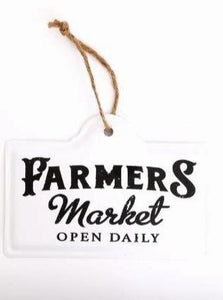 "Emaille Schild mit Beschriftung ""Farmers Market - open daily ""ca. 18cm x 12,5 cm - British Moments"