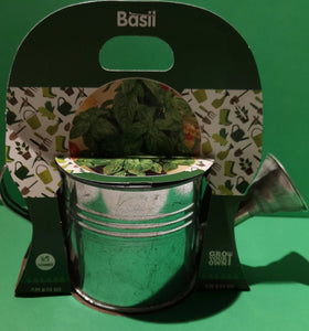 "Pflanz-Set ""Grow Your own "" Basil"" in silberner Mini Blech-Gießkanne - British Moments"