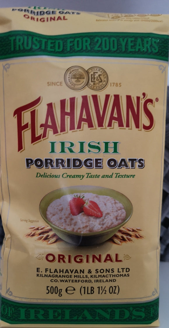 Flahavan`'s Irish Porridge Oats.  500 gr Tüte. Das Lieblings Porridge der Iren - British Moments