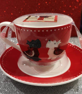 "Harris & Maybel    ""Scottie Dog "" Tasse mit Untertasse - British Moments"