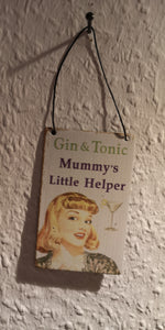 "Mini Metallschild  "" Gin & Tonic Mummy's little Helper."" - British Moments"