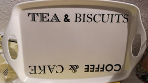 "Tablett, Kunststoff weiß  Beschriftung ""Tea & Biscuits Coffee & Cake"" - British Moments"