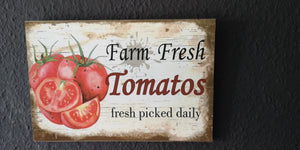 "Holzschild "" Farm Fresh Tomatoes-fresh picked daily"", ca. 30 cm  x 20 cm - British Moments"