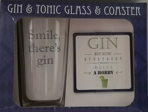Gin glass and coaster  Set - British Moments