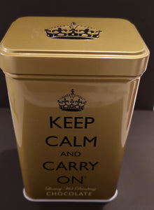 """Keep calm and carry on "" Blechdose gold , Luxury hot chocolate, 120 gr. - British Moments"