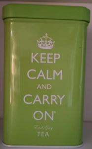 """Keep calm and carry on "" Blechdose grün,  Earl Grey Tee - British Moments"