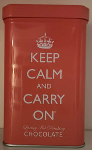 """Keep calm and carry on "" , Blechdose rosa,  Luxury Hot  Drinking chocolate 120 gr. - British Moments"