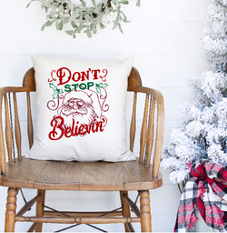 Don't Stop Believin' Linen Pillow Cover