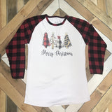 Merry Christmas Trees Plaid Sleeves Raglan