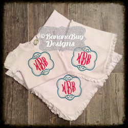 Double Swirl Monogram Ruffle Set