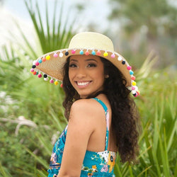 Multicolor Pom Pom Floppy Hat