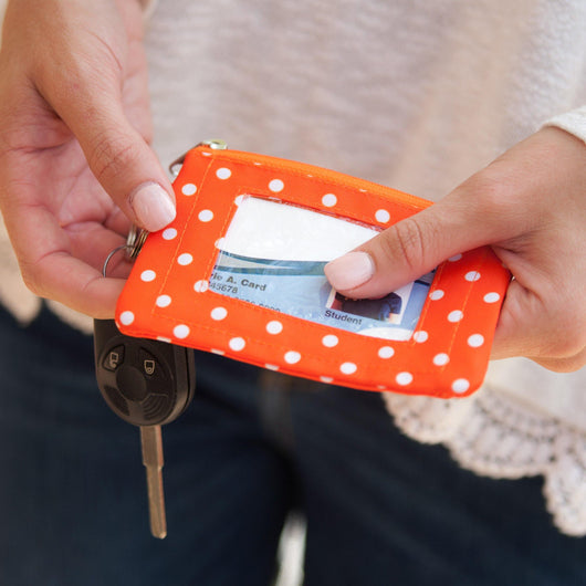 Orange and White Dots ID Case
