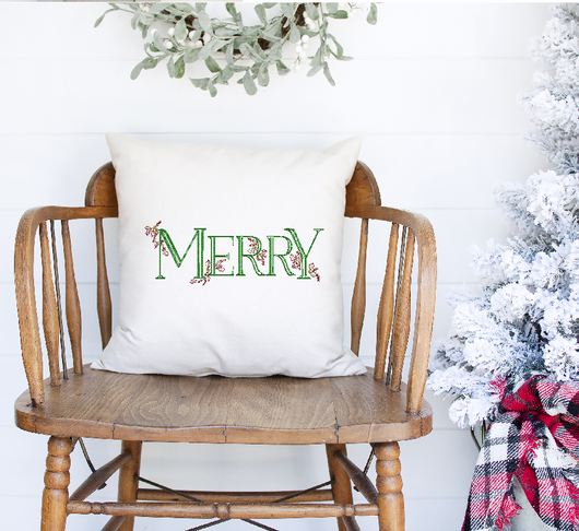 Merry Linen Pillow Cover