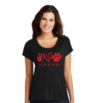 Peace, Love, and Tigers Drapey Dolman Tee