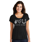 Peace, Love, and Mustangs Drapey Dolman Tee