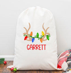 Antlers and Lights Personalized Santa Sack