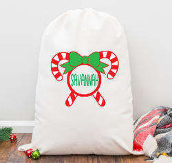 Crossed Candy canes and Bow Personalized Santa Sack