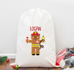 Gingerbread Fire Fighter Personalized Santa Sack