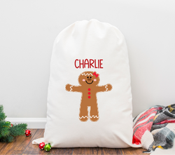 Gingerbread Girl Personalized Santa Sack