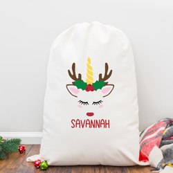 Personalized Reindeer Unicorn Santa Sack
