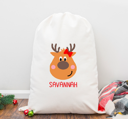 Reindeer Girl Personalized Santa Sack