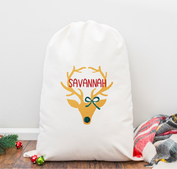Reindeer Girl with Bow Personalized Santa Sack