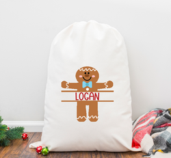 Split Gingerboy Personalized Santa Sack
