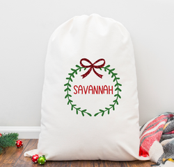 Christmas Wreath Personalized Santa Sack