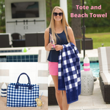 Navy Check Tote and Towel Set