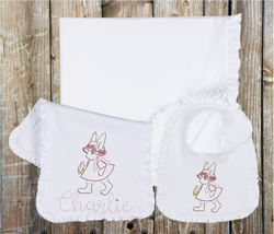 Vintage Bunny and Carrot Monogram Ruffle Set