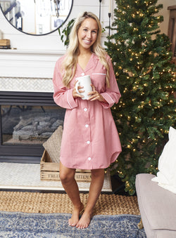 Monogrammed Gingham Lounge Shirt