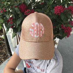 Glitter Monogrammed CC High Ponytail Hat