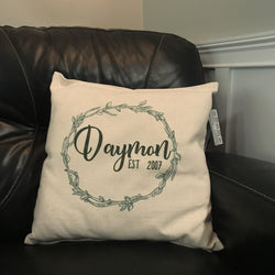 Family Name Established Pillow Cover
