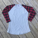 Merry Christmas Trees Plaid Sleeves Raglan - Banana Bug Designs