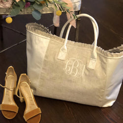 White Linen Weekender Ruffle Tote