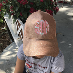 Youth  Glitter Monogrammed High Ponytail Hat