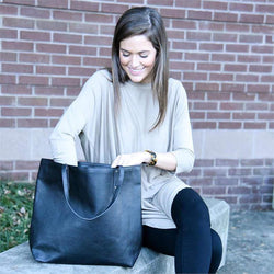Vegan Leather Bucket Tote